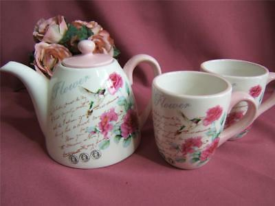 GORGEOUS COUNTRY ROSE  TEAPOT & 2 MUG SET  CERAMIC 3 1/2 cup TEAPOT