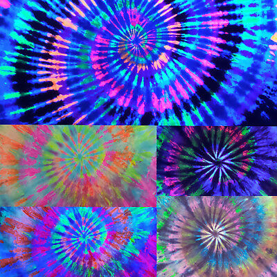Black Light Tie Dye Tapestry Wall Hanging College Dorm Decor Psychedelic Art UV