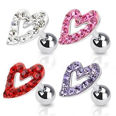 Helix Tragus Cartilage Heart Ferido Crystals Surgical Steel Barbell Piercing