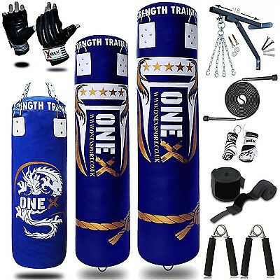 14 Piece Boxing Set 3/4/5ft Filled Heavy Punch Bag Gloves,Chains,Bracket,Kick