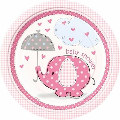 PINK UMBRELLAPHANTS 9'' PLATES - Girl  Baby Shower Party Supplies Tableware