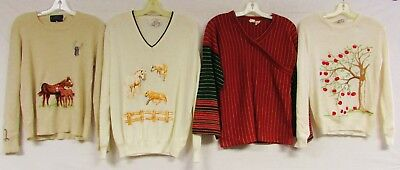 Lot of 4 Vintage 70s Sweaters Novelty Acrylic Horse Apple Stripe