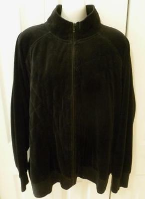 Sag Harbor Back Velour Quilted Accent Zip Close Jacket 2X
