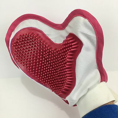 Pet Deshedding Cleaning Brush Glove Dog Cat Hair Massage Grooming Groomer Pink