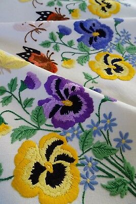Exquisite Vtg Hand Embroidered Linen Tablecloth ~ Winter Pansies Butterflies