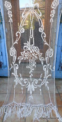 "Magnificent Curtain Filet Linen Net handworked French Genuine Vintage 90"" LX 46W"