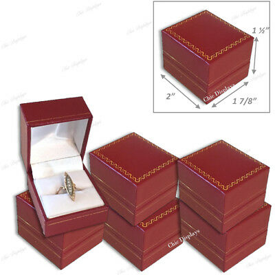 Lot Of (6) High Quality Leatherette Ring Box Red Ring Box Jewelry Gift Box<Deal>