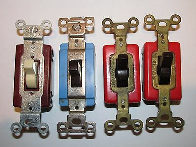 Vintage Lot of 4 Circle F,  Bryant & Hubbel On Off Toggle Switches - 15 & 20 amp