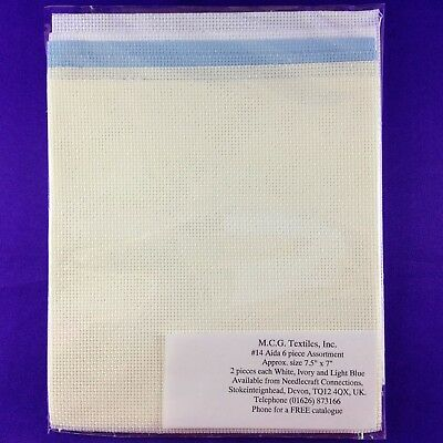 14 Count Aida Fabric 19x17.5 cms (Pack Of 6) White, Ivory, Lt.Blue - MCG Textile