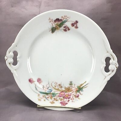 Chas Field Haviland Limoges Hand Painted Pink Flowers & Gold Handled Cake Plate