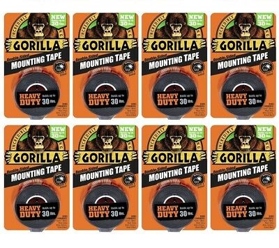 Gorilla Mounting Tape 6055001 HEAVY DUTY, Holds Up to 30LB - 8 PACK!