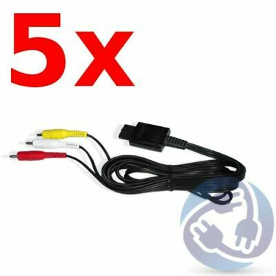 LOT - 5X A/V Stereo RCA Audio Video Cables for Nintendo Gamecube SNES N64 GC