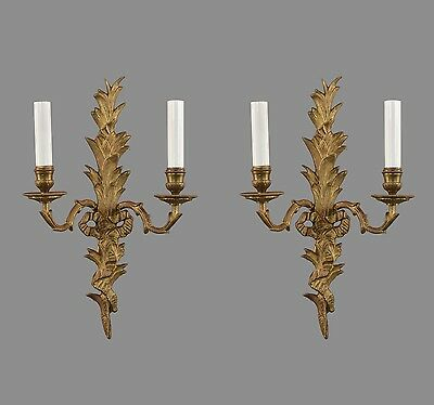 French Rococo Gilded Bronze Wall Sconces c1930 Vintage Antique Brass Gold Wall