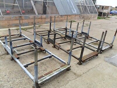 3 Hard To Find Large  Metal Stackable  Stillages Ideal Wood Steel Racking Storag