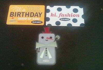 Three Old Navy Gift Cards, 2017, hi, fashion & Birthday plus Snowman Collectible