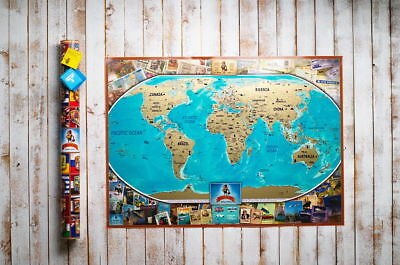 Deluxe Vintage Scratch Off Map Detailed World Personal Push Pin Travel Poster