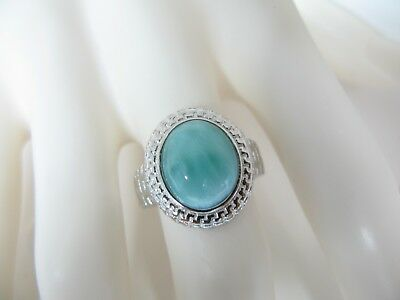 Larimar Greek Key Ring AAA Natural 10X12mm  .925 Sterling Silver Size 7