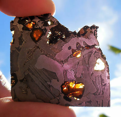10.4 gram SEYMCHAN METEORITE pallasite  - Beautiful GLOWING CRYSTALS