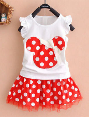 NWT Minnie Mouse Girls White Shirt Red Polka Dot Skirt Outfit Set 2T 3T 4T 5T 6