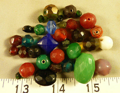 Collection of Vintage Large French Faceted Glass Beads Very Old