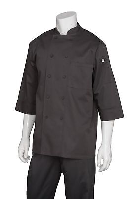Chef Works Men's Essential 3/4 Sleeve Chef Coat (JLCL) Black X-LARGE