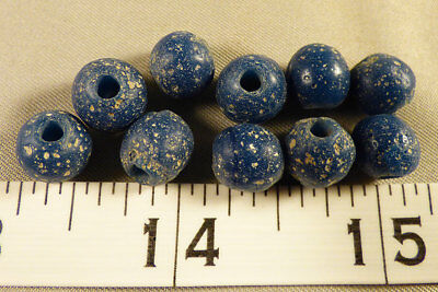 (10) Huron Indian Light Blue Glass Trade Beads 150+ Years Excellent Patina Age