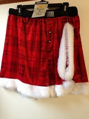Joe Boxer Men s Christmas Santa Boxer Shorts   Hat Set Novelty Underwear NWT f0fb12e6b