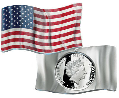 2017 Niue Enameled 1 oz Silver Waving American Flag $2 GEM Proof OGP SKU50851