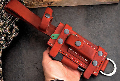 CFK USA Handmade HORIZONTAL VERTICAL Red-Leather Knife Sheath Set Fire Starter