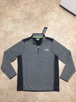 NWT Mens L Under Armour CG Infrared Gray/Black Fleece 1/4 Zip Pullover $69.99
