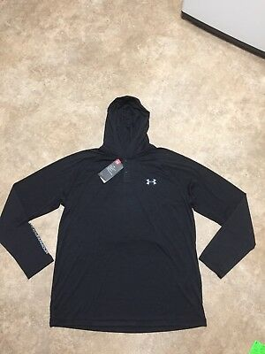 NWT Mens L Under Armour Tech Black Popover Henley Pullover Training Hoodie $45