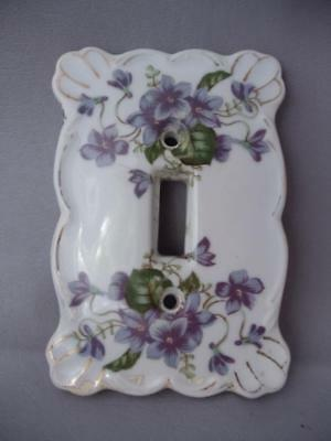 Antique Vtg Hand Painted Purple Flower Porcelain Single Light Switch Plate Cover