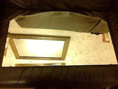 Vintage Frameless Rounded Top Mantle Mirror Stained Black Wooden Back With Chain