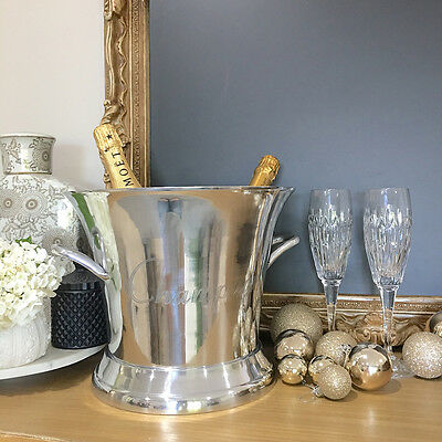 Large Silver Champagne Bucket/Wine Cooler/Ice Bucket/Metal Aluminium/Gift Idea