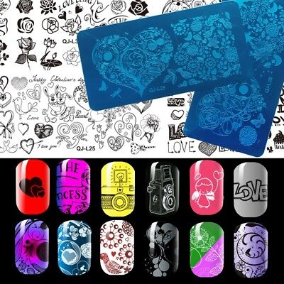 10 Design Stencil Nail Art Image Stamping Stamper Plate Manicure Template Tool