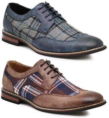Men's Spectator Tweed Plaid Two Tone Wingtips Oxfords Lace Up Shoes Titan03