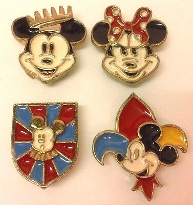 Mickey Mouse Metal Button Covers Enamel Minnie Crown Shield Fleur De Lis Disney