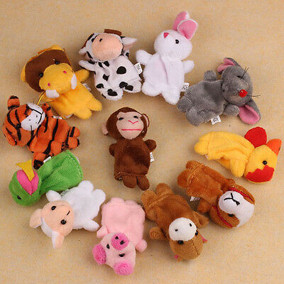 Hot 12Pcs Farm Zoo Animal Finger Puppets Toys Boys Girls Baby Party Bag Filler