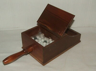 Vintage Wooden Ballot Box With Handle Original with marbles Political