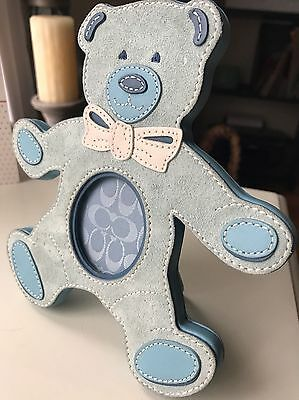 Rare Coach Blue Bear Suede Leather Picture Frame New Baby Gift!