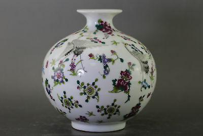Chinese Collection Applique Luminous Red-Crowned Cranes Porcelain Vase