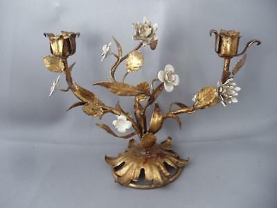 ANTIQUE SHABBY VTG CHIC ITALIAN GOLD METAL TOLE w WHITE FLOWERS CANDLE HOLDER