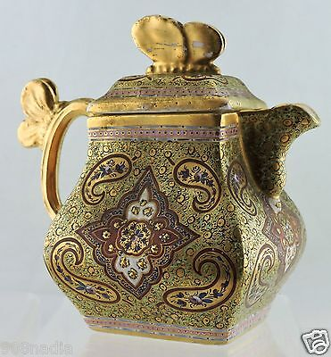 Antique Coalport Cashmere Lidded Tea Pot Jug Gold Paisley Butterfly 19 Century