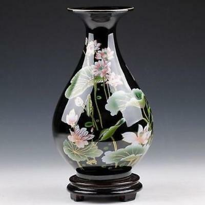 Exquisite Chinese Hand-Painted Lotus Flowers Black Porcelain Vase