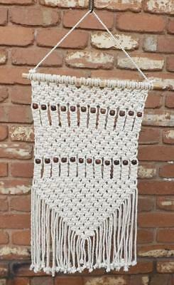 Macrame Wall Hanging Country Vintage Inspired Wall Art Handmade Decor  Beads New