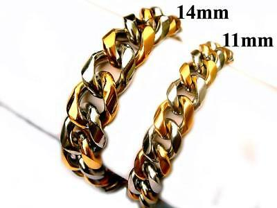 "11mm 14mm 316L Stainless Steel Gold Silver Tone Cuban Curb Chain Bracelet 7""-10"""