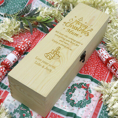 Personalised Engraved Christmas Wooden Wine Box -Great Xmas Gift