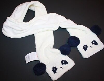 NWT Gymboree Polar Pink Panda Winter Knit Girl Scarf Mittens White Navy Blue New