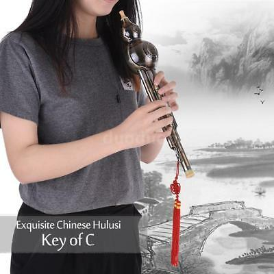 1PC Chinese Hulusi Ethnic Gourd Cucurbit Flute Instrument with C Key Gift Q0K5