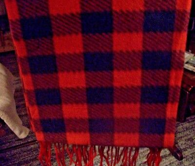 "WOMEN'S POLYESTER FLEECE SCARF, WRAP, SHAWL / RED AND BLACK PLAID / 9.5"" x 59"""